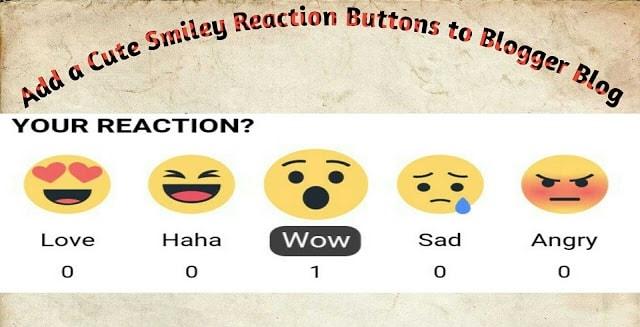 Cute Smiley Reaction Buttons to Blogger blog